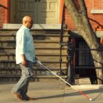 Man with smart cane