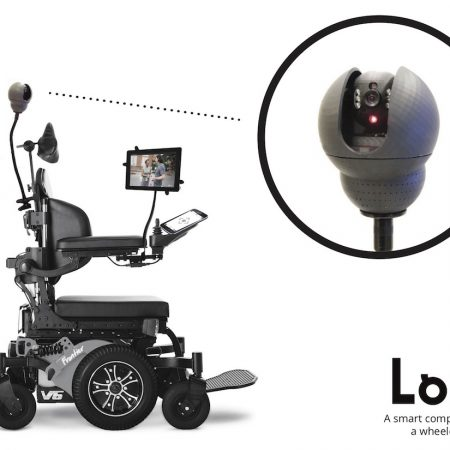 Electric wheelchair with Loro 360 camera attached.