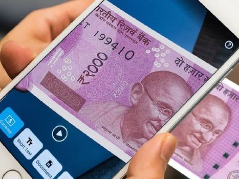 Seeing AI application taking image of bank note