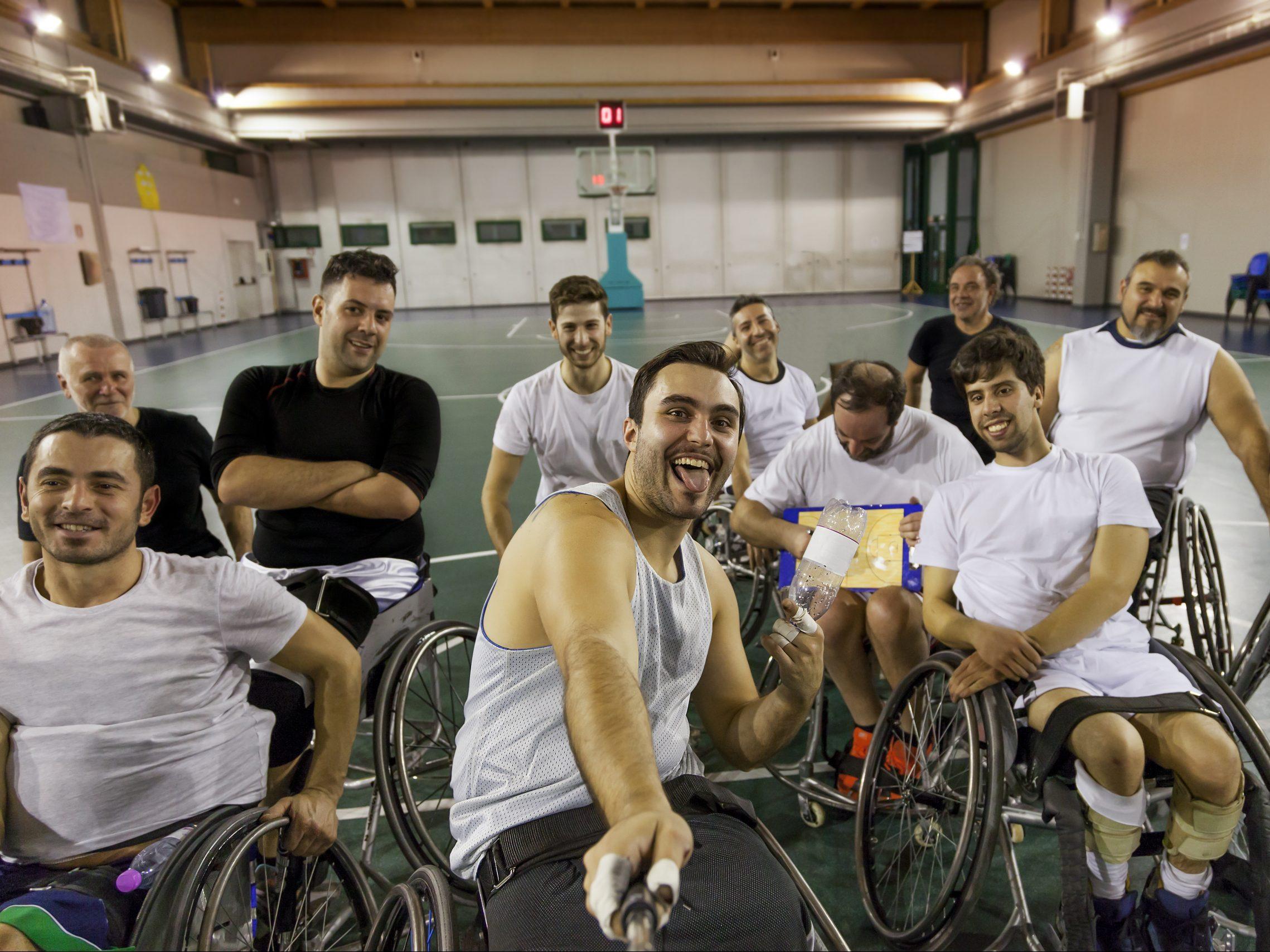 Wheelchair sports team selfie