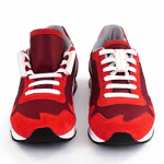 red sneakers with white laces and zubit magnetic closure insitu