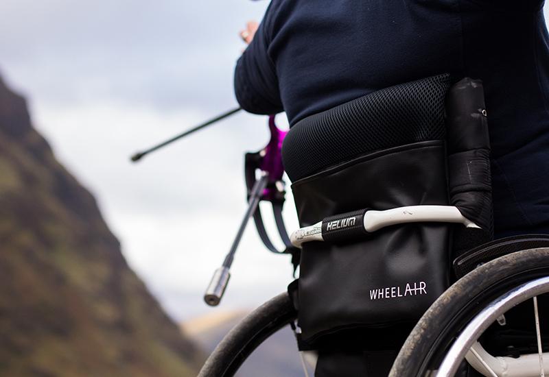 Wheel Air system on wheelchair backrest