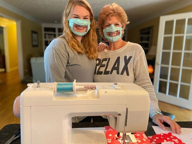 Ashley Lawrence and her mum wearing clear face masks
