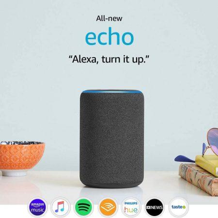 "Amazon Echo Third Generation Speaker with tech ""Alexa, turn it up"""