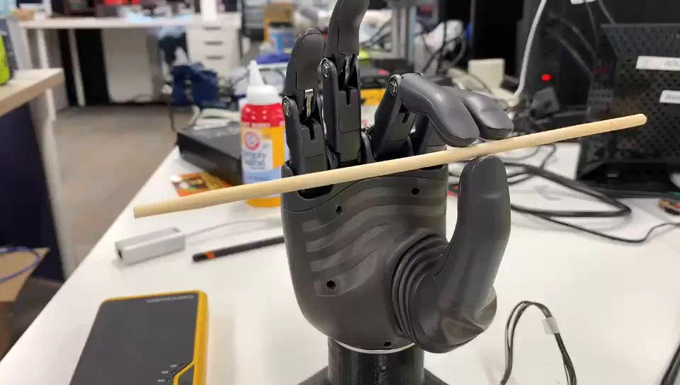 Prosthetic hand with pinch grip on chopstick