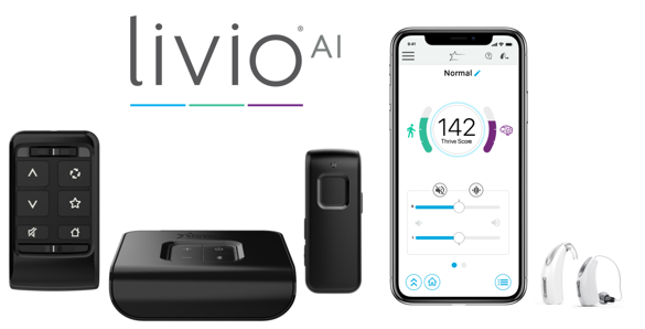 Livio AI and accessories including Thrive Mobile application