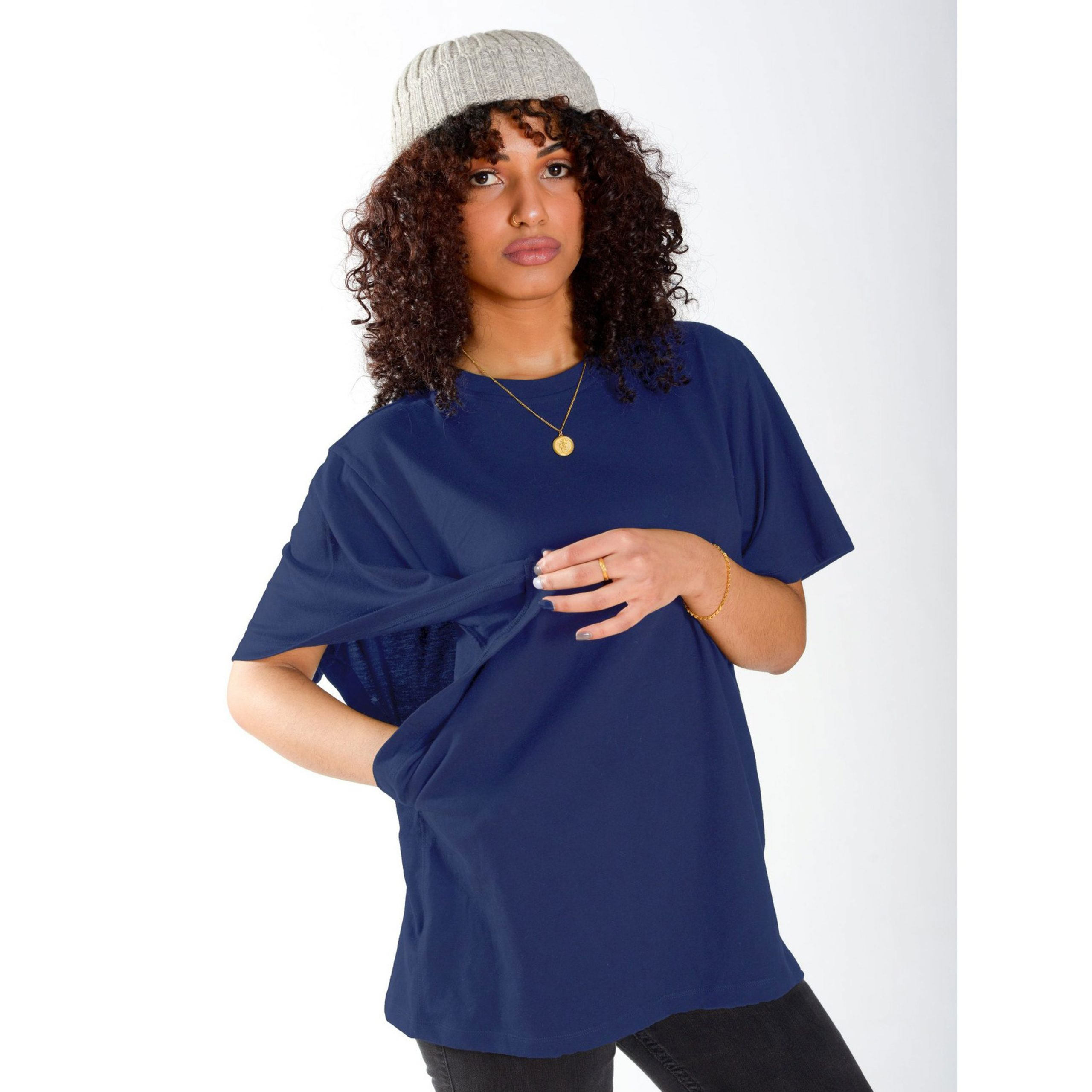 Person wearing easy arm access tshirt