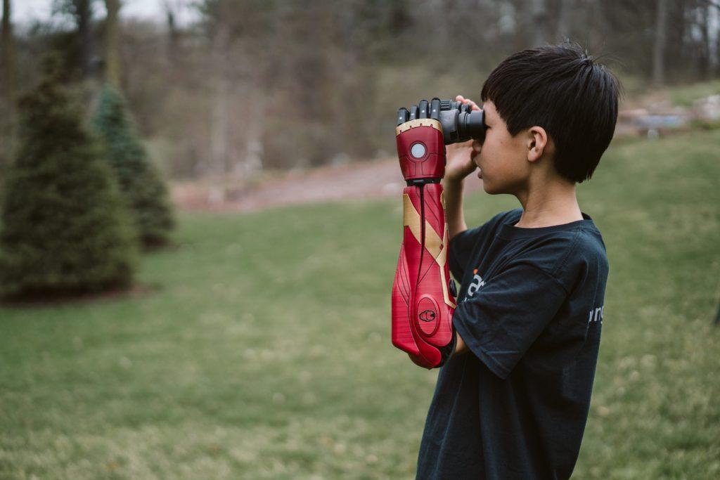 Boy with Spider Man Bionic Hero Arm