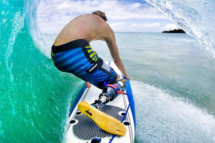 Surfer with prosthetic leg
