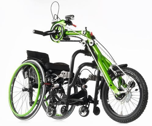 Quickie Attitude Hand Bike connected to Wheelchair