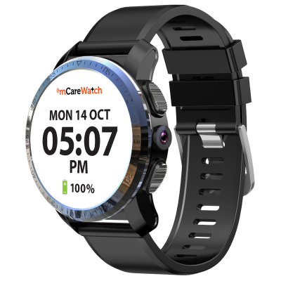 mCare Watch with white face showing date and time.