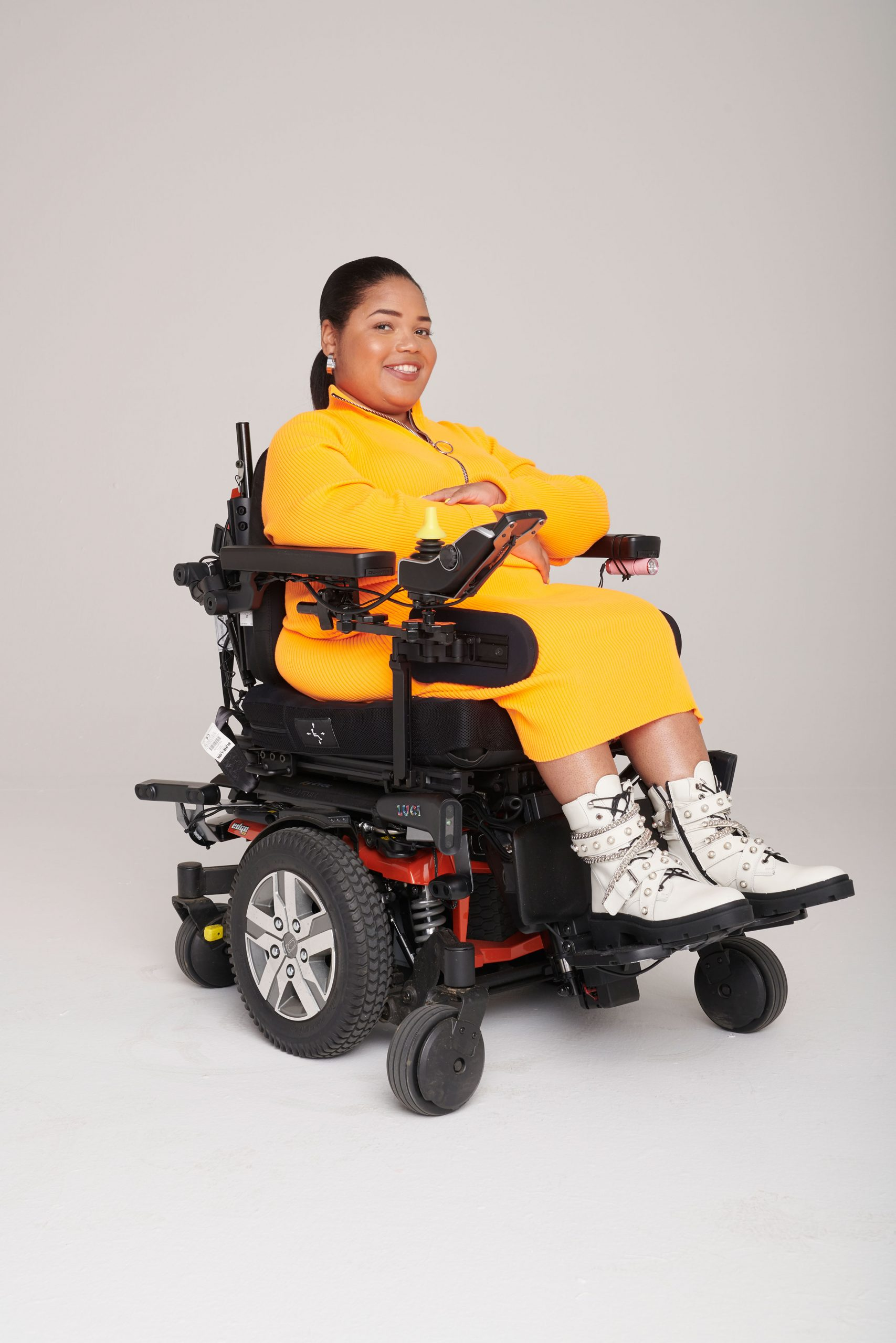 Person using Luci Software in Electric Wheelchair