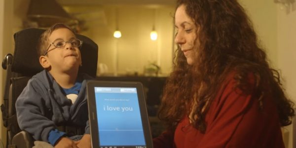 Voiceitt app being used with child to say I love you
