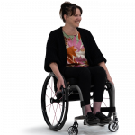 Woman wearing black pants and cardigan in ROVE wheelchair