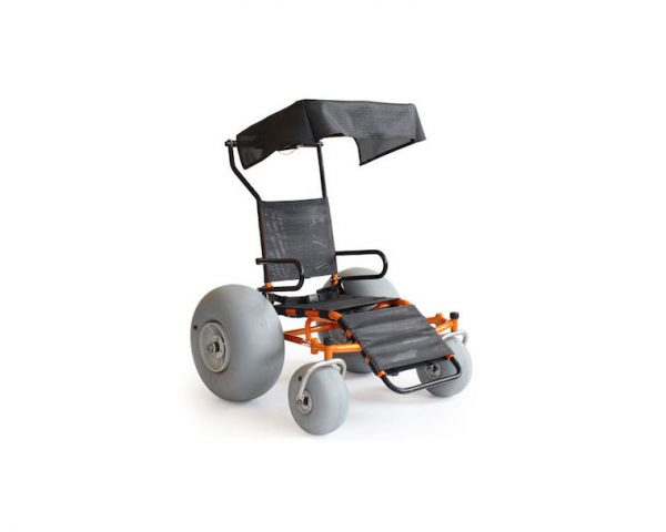 beach wheelchair with canopy, large rear rubber beach wheels and black and orange frame