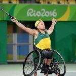 Dylan Alcott celebrating in Gazelle tennis wheelchair
