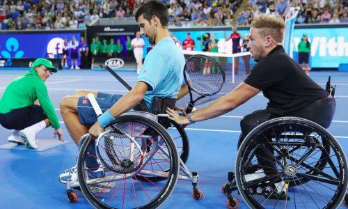 Dylan Alcott and Novak Djokovic playing wheelchair tennis